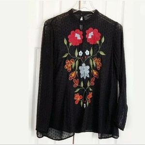 Zara Woman Boho Top Floral Embroidery Sheer Blouse